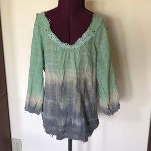 Free People Green Gray Studded Top